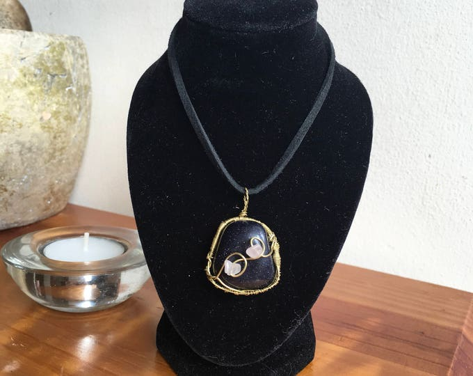 Blue Goldstone and Rose Quartz pendant