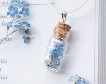 Pendant with forget-me-nots - bottle with forget-me-nots - small bottles - necklace - flowers - nature