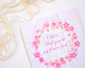 Flower Girl Puzzle, Will You Be My Flower Girl, Wedding Favor, Asking Flower Girl, Flower Girl Gift, Puzzle Invitation, Flower Girl Jigsaw