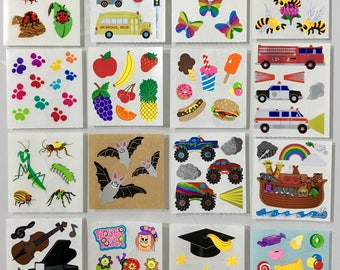 Vintage Sandylion Sticker Lot. Candy, Ice Cream,  Fruit, Ladybugs,Musical, Bats,Butterflies,Cars, Trucks