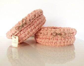 Set di 2 cestini porta pane colore SALMONE | salmon color crochet baskets | bread basket