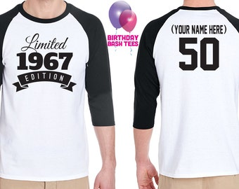 50th Birthday Gift for Men and Women Gift Idea Limited Edition Birthday Celebration 50 Year Old Raglan Baseball Tee Shirt Birthday 1967