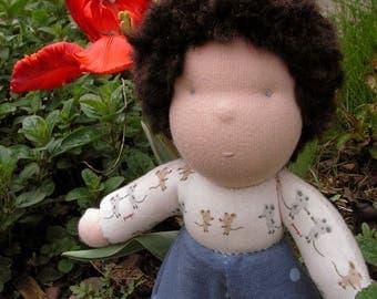 Sonny, ready to ship waldorf cuddle doll, handmade, all-natural materials, dark hair curls baby boy doll, waldorf boy, waldorf doll for boy