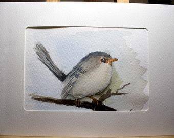 Greeting Card, Blank Card, Original Watercolor Card, Hand Painted Card, Cute Bird