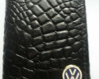Volkswagen Faux Alligator Black Leather Trifold Wallet