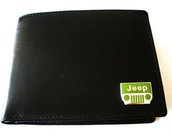 Jeep Men's Black Leather Bifold Wallet