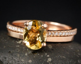Rose Gold Oval Golden Beryl Ring - Simple Flat Wedding Band - Conflict-Free Engagement Ring