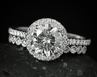 White Gold Halo Diamond Moissanite Engagement Ring - Forever One Moissanite - Milgrained Wedding Band