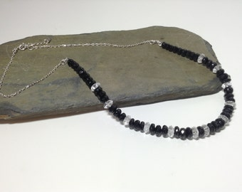 A beautiful black spinel and 925 sterling silver necklace