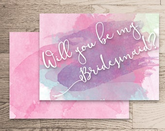 Will You Be My Bridesmaid Instant Download- Rachel Collection- Pink and Purple Watercolour Handwritten Calligraphy White Printable