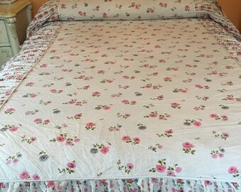 1950's  Light Cotton Twin Bedspread