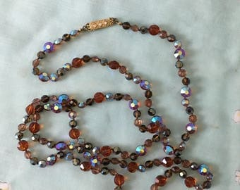 "1920's Stunning Crystal Necklace 30"" Drop"