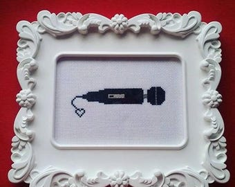 Hitachi / Magic Wand / Vibrator Subversive Cross Stitch Framed - Female masturbation