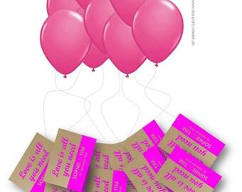 Air balloon cards 'LOVE' incl. card/balloons/cords (80 PCs.)