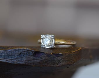 14K Yellow Gold Antique Setting 0.30ct Diamond Solitaire Engagement Ring, US Size 5.5, Vintage Bridal Jewelry, Wedding, Anniversary