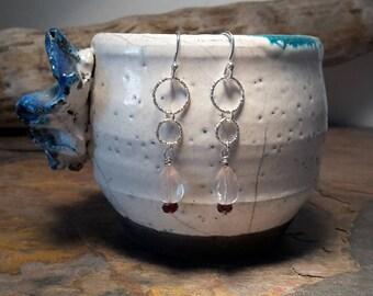Rose quartz and garnet Sterling silver earrings, faceted briolette rose quartz gemstones, faceted garnet beads, silver textured ring,sparkly