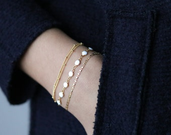 Dainty Gold Bracelet - White Enamel Charm Bracelet - Stacking Bracelets -  Gold Charm Bracelet - Minimalist Jewelry - Gift for Her