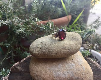 Vintage Sterling Silver Oval Amethyst Ring