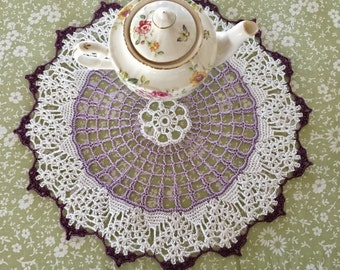 Lavender and Lilac Lace Doily - Spring Centerpiece - Pastel Crochet Doily - Handmade Doilies - Mothers Day Gift - Coffee Table Decor