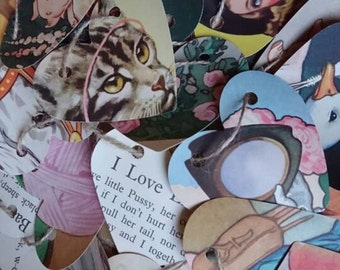 Paper Heart garland. Heart bunting. Vintage childrens book. Nursery rhymes. Shabby chic decor. Gift idea. Nursery decor. String hearts.