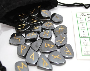 Hematite Elder Futhark Rune Set Hand Carved Gemstone Runic