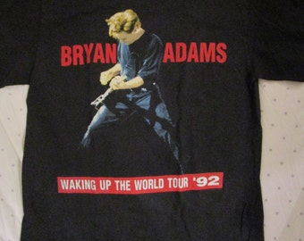 Vintage Bryan Adams Shirt Waking Up The World 1992 Tour Shirt Rare Bruce Springsteen John Mellencamp Sting Vintage Tour Shirt