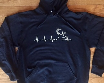 Buck Hoodie, Heart Rate Deer Hoodie, Hunting Hoodie, Hunting Gifts, Gifts for Hunters, Dad Gift, Father's Day Gift