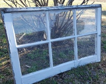 Vintage antique farm window sash frame 6 pane 34x21 rustic very old country farm cottage