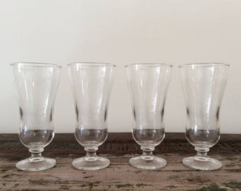 Set of 4 Vintage Libbey Glass Rock Sharpe Georgian-Style Parfait | Pilsner Drinking Glasses - Mid-Century Barware