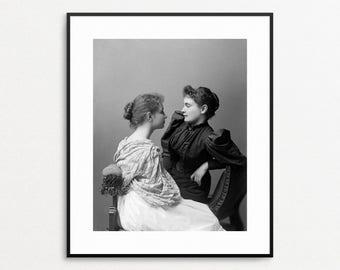 Helen Keller and Anne Sullivan Photograph- Teacher Gift - Wall Art - Helen Keller Photo - Famous Women - Black and White Print - Blind Deaf