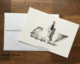 Murfreesboro, TN Cards   Hello Cards   Hand Lettered Card   Set of 10 Cards, 10 Kraft Envelopes