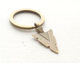 Bronze Arrow Keychain  - Arrow Key Ring - Gift Idea - Gift for Her Gift for Him - Boho keychain - Minimalist Key Chain