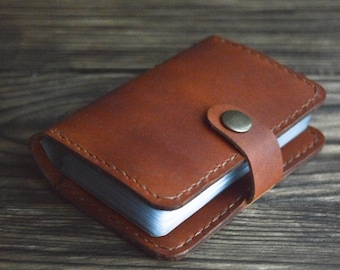Handmade Leather Credit Card Holder, Leather Card Case, Leather Card Wallet, Minimalist Mens Womens Case for 20 Cards
