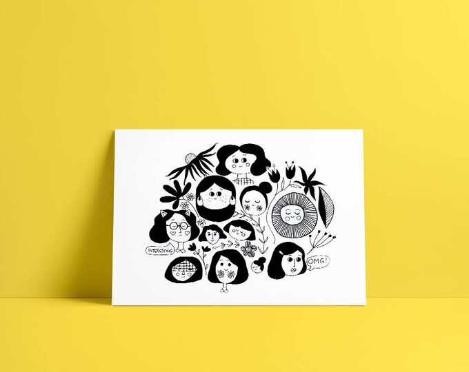 Ink print drawing of girls … limited edition print a4
