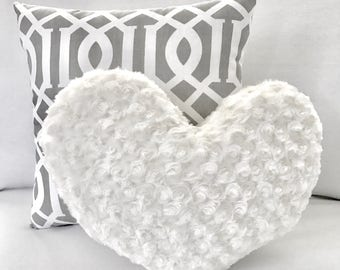 Decorative Pillow Set 16x16in Glorious Gray and 13x15in Simply Vanilla faux fur Large Heart