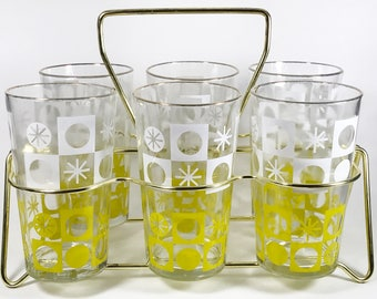 Mid-Century Glasses / Tumblers Geometric Starburst with Caddy - Set of 6
