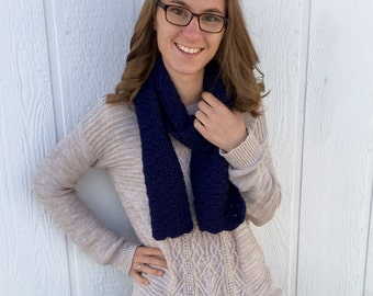 Navy Blue Crochet Shell Scarf
