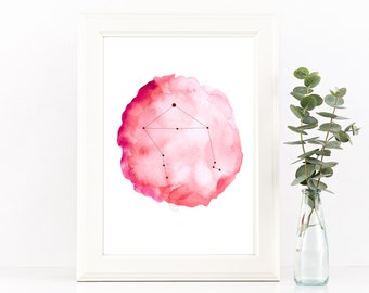 Libra star sign, Libra constellation art, Zibra zodiac print, Printable art, Libra gift, Star constellation, Astrology print, Horoscope art