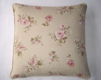 Vintage, shabby chic English rose floral cushion cover 45cm x 45cm