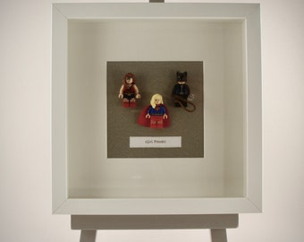 DC Comic Girl Power Super Hero mini Figures framed picture 25 by 25 cm