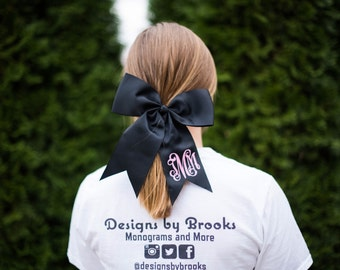 Black Monogram Bow | Monogram Cheer Bow | Monogram Sports Bow | Little Girls Bow | Soccer Bow | Basketball Bow | Softball Bow | Monogram Bow