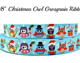 """Christmas Owl Grosgrain Ribbon 7/8"""" Grosgrain Ribbon By The Yard For Hair Bows Gift Wrapping Scrap Booking Crafts"""