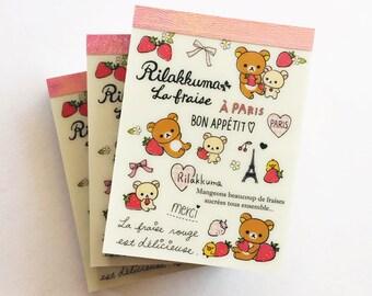 San-X Rilakkuma Bear La Fraise Paris Mini Memo Pad