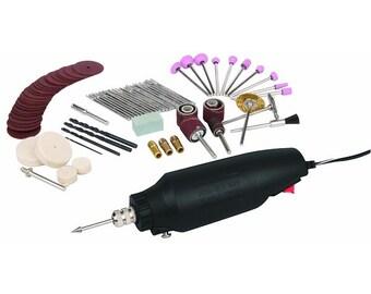 80 Pc Rotary Tool Kit Fits Dremel Bit Single Speed Buffing, Grinding, Sanding, Drilling Tool