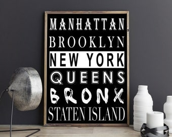 New York Poster, Manhattan Poster, Brooklyn Poster, Queens Poster, Staten Island Poster, Bronx Art, New York Art, Instand Download
