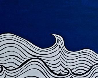 Fine Art Print /  Giclee Print / Ocean Art / Wave Print / Night Seas / Wall Art / Original Art