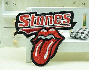 3 pieces 7×8 cm Red tongue Rock shoulder emblem Embroidered Iron On Applique Badge Patch (213-15)