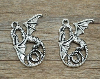 8 pcs Antique silver wing dragon Pendants for Necklace / accessory DIY 37 mm x 28 mm (507-48)