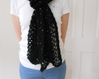 Black hand knitted scarf with sequins - Reduced