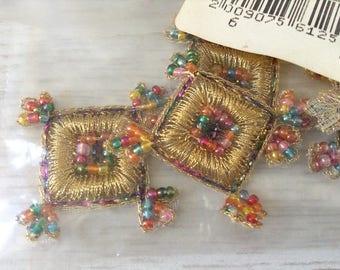 6 square boho applique vintage, gold applique with colorful beads
